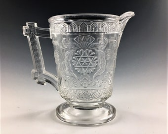 EAPG Creamer - McKee and Brothers Glass Company - Modern (OMN) - AKA Scroll With Flowers - Early American Pattern Glass - Circa 1881