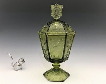 Imperial Glass No. 619 Zodiac Box and Cover - Covered Candy Jar
