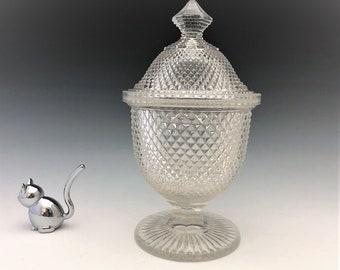 EAPG Covered Sugar Bowl - New England Glass Company - Sharp Diamond Pattern - AKA Diamond Point - Early American Pattern Glass - Circa 1868