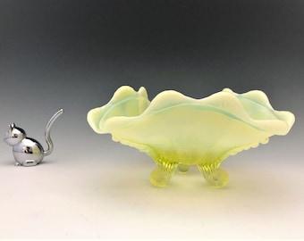 Northwood Klondyke Pattern Bowl - AKA Jackson - Topaz Opalescent - Early American Pattern Glass Bowl - C. 1898