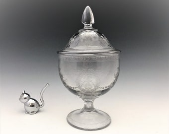 Cambridge Glass 1917/86 Covered Candy Jar With #408 Etch and D619 Decoration - Depression Era Elegant Glass