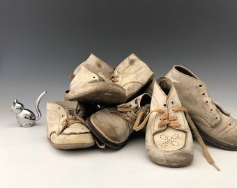 Collection of 10 Vintage White Leather Baby Shoes - Buster Brown and More