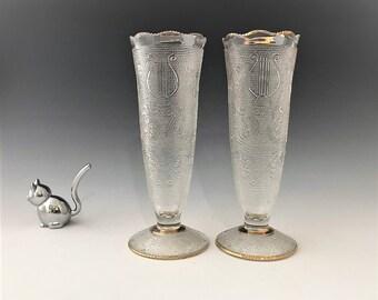 Jeannette Harp Pattern - Set of Two Vases - 7 Inch Flower Vases - Mid Century Vases