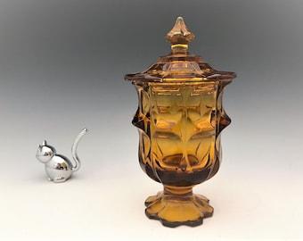 Fenton Valencia Cigarette Box - Amber Glass Covered Jar - Mid Century Glass