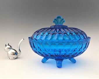 Fenton Colonial Blue Thumbprint Oval Candy Box (4486 CB)