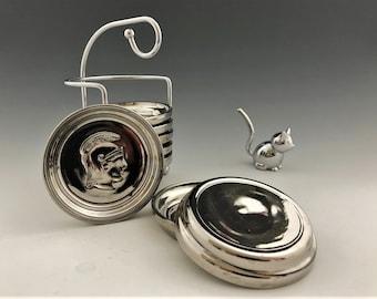 Mid-Century Mercury Glass Coaster Set - 8 Coasters and Rack - Trojan or Roman Soldier Motif