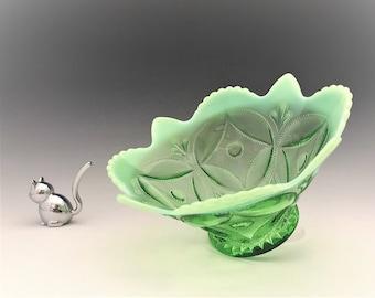 Dugan Glass Opalescent Green Bowl - Wheel and Block Pattern - c. 1905