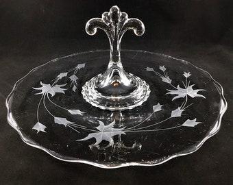 Viking Glass - No. 5246 - Princess Sandwich Tray - Center Handle Server - Mid Century Glassware