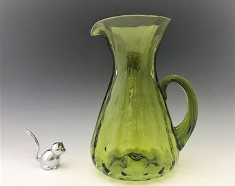 Blenko No. 6919 Blown Glass Pitcher - c. 1969 - Vintage Green Glass Pitcher