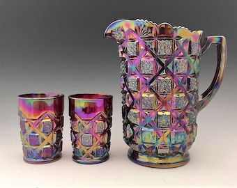 Westmoreland Old Quilt Water Set - Ruby Red Carnival Glass - Pitcher and Six Tumblers