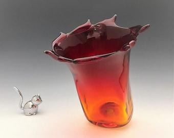 Blenko Handcrafted Amberina Vase - Red Orange Glass Vase