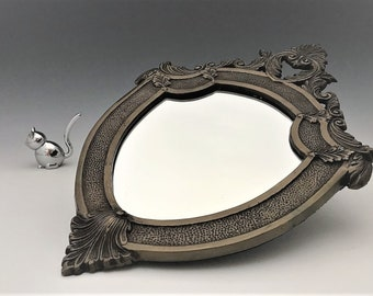 Vintage Pewter Tone Metal Framed Accent Mirror - Shield Shaped Mirror