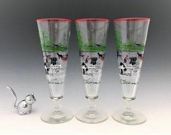 Set of 3 Libbey Pilsner Glasses - Farm or Harvest Scenes - Mid Century Barware