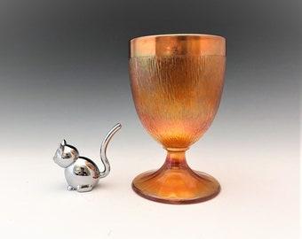 Jeannette Glass Tree Bark Candy Dish - Iridescent Marigold Glass