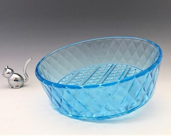 EAPG Blue Bowl - Bryce Brothers No. 1000 - AKA Diamond Quilted - Early American Pattern Glass - c. 1885