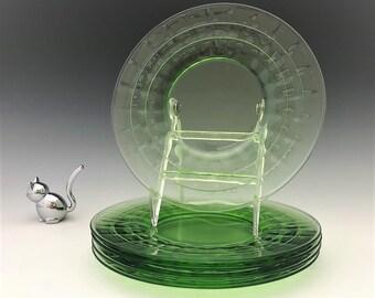 5 Uranium Glass Luncheon Plates - Hocking Block Optic Pattern - Green Depression Glass - Glowing Glass Plates