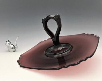 Diamond Glass Center Handle Server - Amethyst Depression Era Glass