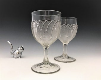 EAPG Goblets - Bryce, Walker and Company - Loop and Dart - Early American Pattern Glass - 1869