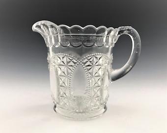 EAPG Creamer - U.S. Glass Company No. 15073 Oregon Pattern (OMN) - AKA Beaded Loop - Early American Pattern Glass - Circa 1901