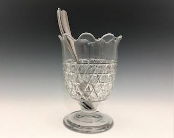 EAPG Spooner - Latticed Block Pattern - Hexagonal Block Band - Early American Pattern Glass - Circa 1870s
