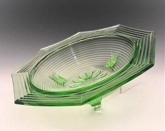 U.S. Glass - King Tut Pattern - Hard to Find Uranium Glass Bowl - Green Depression Glass - Glowing Uranium Glass