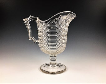 EAPG Creamer - Bryce, Walker and Company - Maltese Pattern (OMN) - AKA Jacob's Ladder - Early American Pattern Glass - Circa 1876
