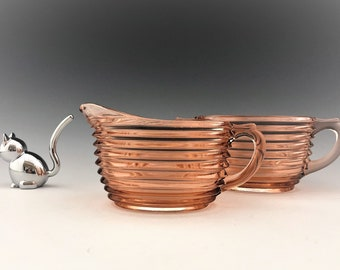 Anchor Hocking Manhattan Pink Breakfast Set - Creamer and Sugar Bowl