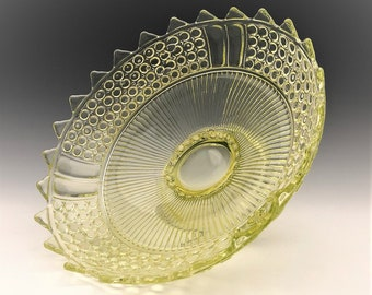 Richards and Hartley No. 25 - AKA Three Panel - Vaseline Glass Footed Bowl - Early American Pattern Glass - c. 1885 - Glowing Glass Bowl