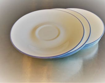 Set of 8 Vintage Corelle Saucers - Infinia Pattern - White With Blue Band
