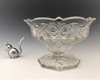 McKee Rock Crystal Footed Compote - Elegant Entertaining - Elegant Footed Bowl