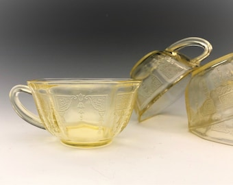 Hocking Princess Topaz Cups - Set of Four Yellow Depression Glass Cups