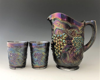 Imperial Glass Grape Pattern - Peacock Carnival Water Set - Amethyst Carnival Glass - Pitcher and 6 Tumblers
