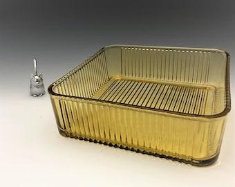 Federal Glass Amber Refrigerator Dish - Vintage Ribbed Glass Fridge Dish