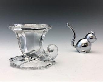 Heisey No. 1428 Warwick Individual Candlestick (c. 1937-57) - Horn of Plenty Elegant Glass Candlestick Holder