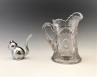 EAPG Toy Pitcher - Indiana Glass No. 300 - AKA Oval Star - Small Pitcher - Early American Pattern Glass - c. 1910