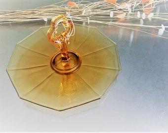 Cambridge Decagon Amber Center Handle Server (CHS) - Elegant Glass of the Depression Era - Octagonal Serving Platter