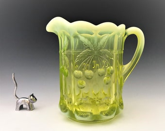 Mosser Vaseline Glass Pitcher - Cherry Thumbprint Pattern - AKA Cherry and Cable - Northwood Reproduction - Glowing Glass Pitcher
