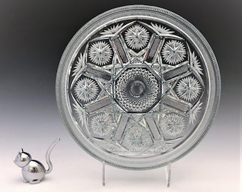 Imperial Glass No. 612 AKA Star and File Glass Tray - Early American Pattern Glass