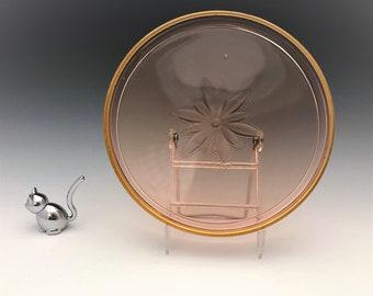 Diamond Glass Wine Tray - Pink Depression Glass Tray - Beverage Tray
