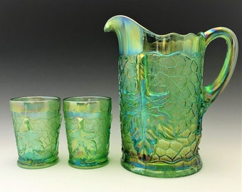 L.G. Wright Maple Leaf Water Set - Ice Green Carnival Glass - Pitcher and 6 Tumblers