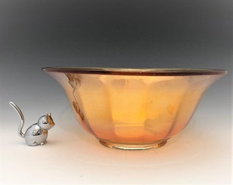 Imperial Glass Smooth Panels - Large Carnival Glass Console Bowl - No. 2609 Bowl - Iridescent Bowl - Marigold Bowl - Hard to Find