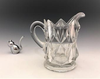 EAPG Creamer - Model Flint Glass Company - Heck Pattern - Early American Pattern Glass Cream Pitcher - Circa 1893