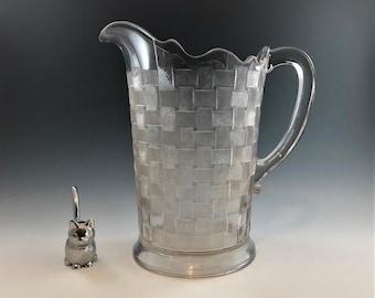 EAPG Pitcher - Co-Operative Flint Glass Company - No, 110 Pattern (OMN) - AKA Basketweave - Early American Pattern Glass - Circa 1886