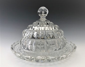 Brockwitz Kristallo Cheese Dish - Vintage German Pressed Glass - c. 1920's - Covered Cheese Dish - Hard to Find
