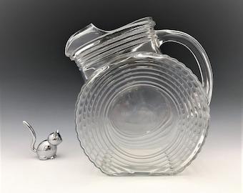 Federal Glass Tilt Target Jug -  Big Ben Pitcher - Art Deco Style