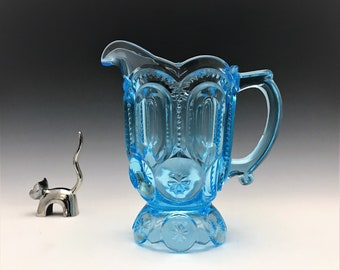 L.G. Wright Moon and Star Creamer - No. 44-16 - Vintage Light Blue Cream Pitcher