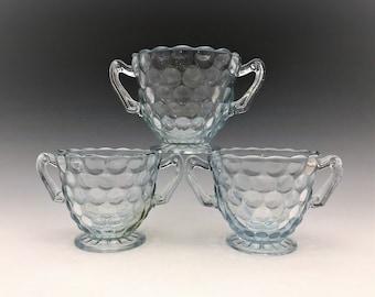 Anchor Hocking Bubble Blue Sugar Bowls - Set of 3 - 1942-48