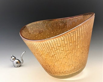 Jeannette Tree Bark Carnival Glass Bowl - Iridescent Planter - Chip and Dip