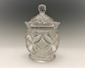 EAPG Covered Sugar Bowl - Westmoreland Specialty - Elite Pattern - AKA Pillow and Sunburst - Early American Pattern Glass - Circa 1896