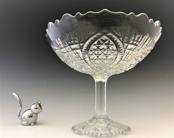 EAPG Compote - John B. Higbee and Company - Fortuna (OMN) - Early American Pattern Glass - Circa 1913